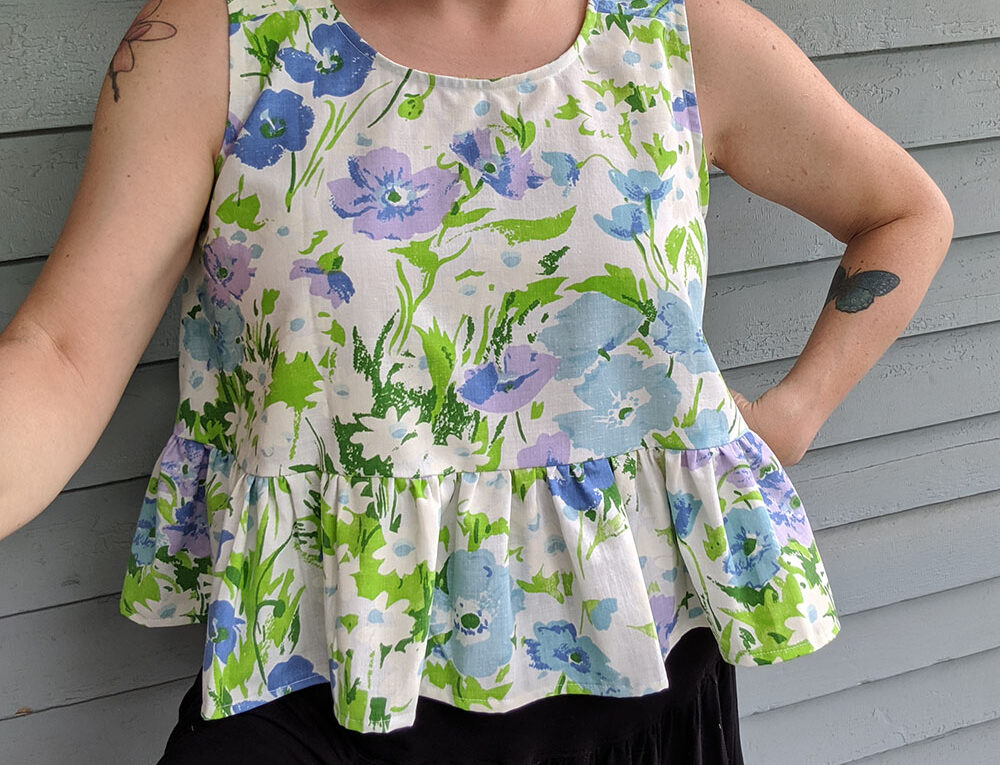 Peplum Top in vintage blue, purple, and green sheet fabric