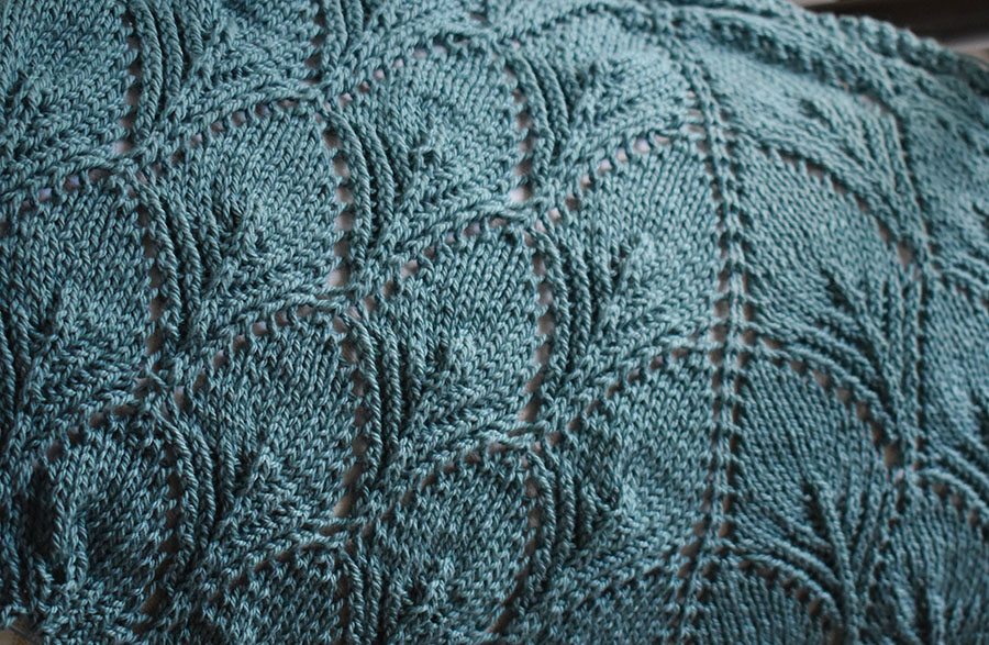 Cotton yarn knitted into shawl